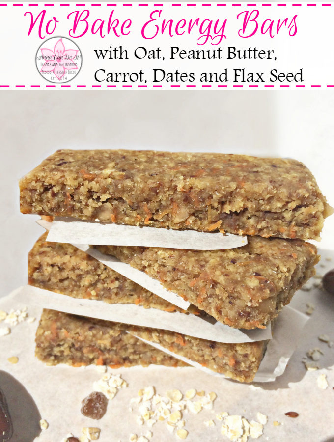 No Bake Energy Bars - Anna Can Do It! * No Bake Energy Bars with Oat, Peanut Butter, Carrot, Dates and Flax Seed. These pocket-size no bake energy bars are so delicious, filling, unbelivably easy to make and only a few ingredients needed. Perfect for snack, workout food, and even for breakfast!