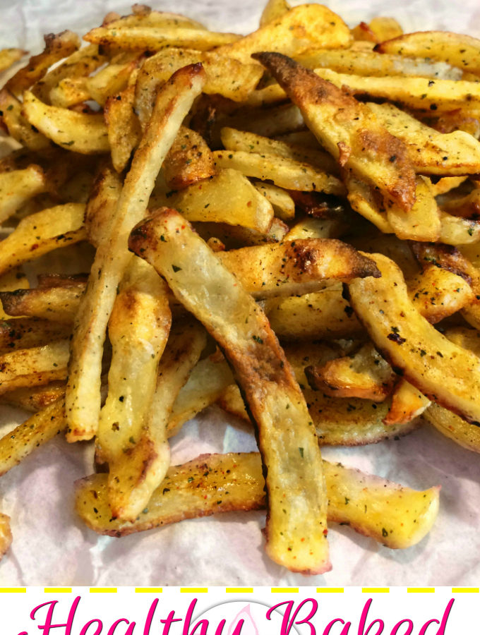 Healthy Baked French Fries - Anna Can Do It! * Spicy and Healthy Baked French Fries with crispy outside and creamy inside is perfect side-dish. It's a freezer friendly recipe, so you can make them ahead and just pop them in the oven when you need them!