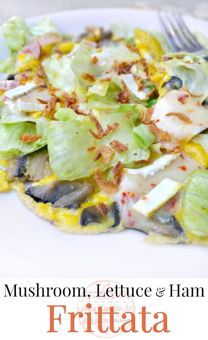 Mushroom, Lettuce & Ham Frittata - Anna Can Do It!