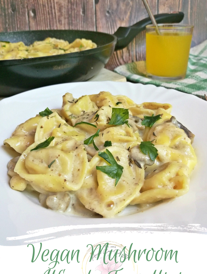 Vegan Mushroom Alfredo Tortellini - Anna Can Do It!