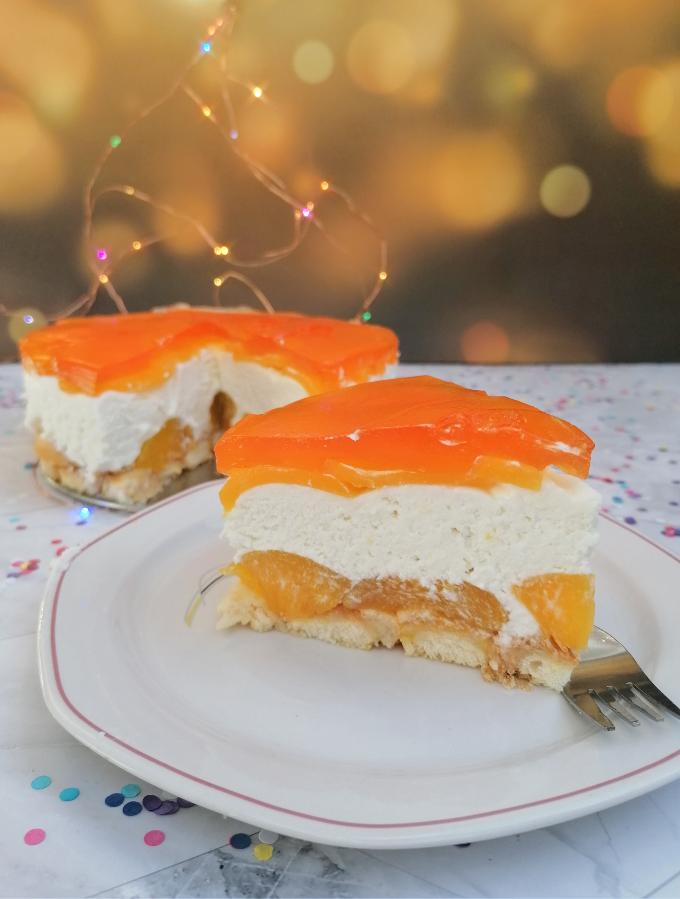 No-Bake Peach Cheesecake - 6th Blogiversary - Anna Can Do It!
