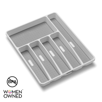 madesmart Classic Large Silverware Tray - White |CLASSIC COLLECTION | 6-Compartments| Kitchen Drawer Organizer | Soft-Grip Lining and Non-Slip Rubber Feet | BPA-Free