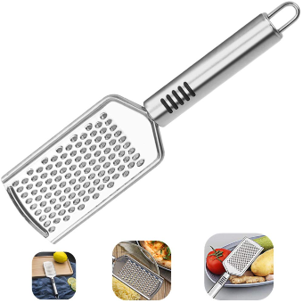 Cheese Grater, Kmeivol Stainless Steel Square Comfortable Grips Coarse Grater with Hanging Loop, Pro Grade Flat Hand Held Cheese Grater for Kitchen, Razor Sharp Blades Medium Shred Cheese Grater