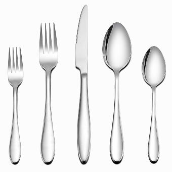 LIANYU Silverware Set 20-Piece, Stainless Steel Flatware Utensils Set Service for 4, Simple Look & Modern Design, Dishwasher Safe