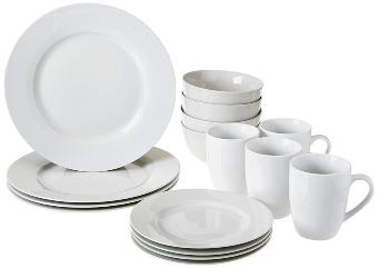 AmazonBasics 16-Piece Kitchen Dinnerware Set, Plates, Bowls, Mugs, Service for 4, White