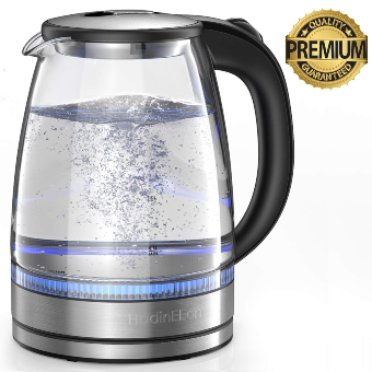 HadinEEon Electric Kettle 1.7L Glass Electric Tea Kettle (BPA Free) Cordless with LED Indicator Lights, Portable Electric Hot Water Kettle with Auto Shutoff Protection, Stainless Steel Lid & Bottom
