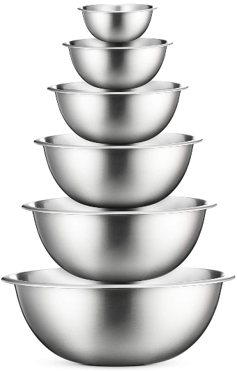 Premium Stainless Steel Mixing Bowls (Set of 6) Stainless Steel Mixing Bowl Set - Easy To Clean, Nesting Bowls for Space Saving Storage, Great for Cooking, Baking, Prepping