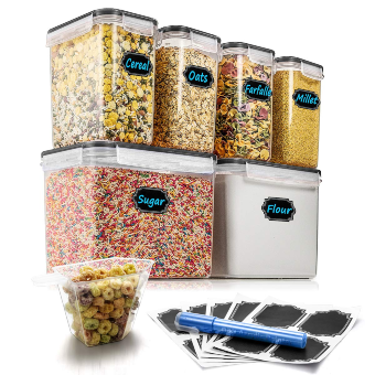 Airtight Food Storage Containers - Wildone Cereal & Dry Food Storage Container Set of 6 (Black Lid), Leak-proof & BPA Free, with 20 Chalkboard Labels & 1 Measuring Cup & 1 Chalk Marker