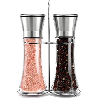 Willow & Everett Stainless Steel Salt and Pepper Grinder Set -Tall Shaker, Adjustable Coarseness, Refillable -Sea Salt, Black Peppercorn Mill