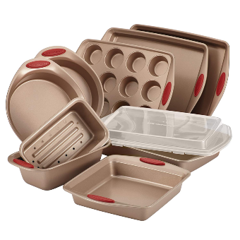Rachael Ray 52410 Cucina Nonstick Bakeware Set with Baking Pans, Baking Sheets, Cookie Sheets, Cake Pan, Muffin Pan and Bread Pan - 10 Piece