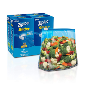 Ziploc Slider Freezer Bags, Stand-and-Fill with Expandable Bottom, Quart, 34 Count, Pack of 4 (136 Total Bags)